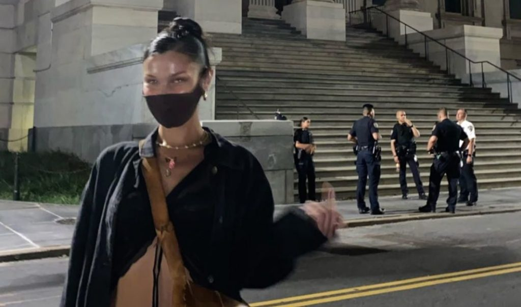 Bella Hadid Gives the Police the Finger!